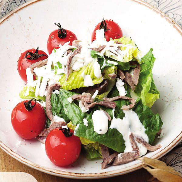 Теплый салат с телячьим язы...